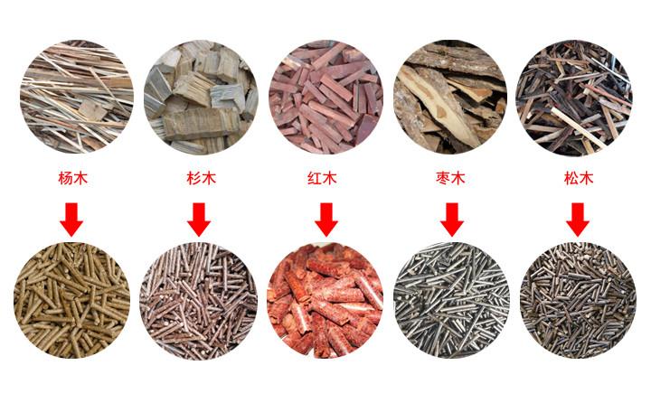 木屑颗粒机原材料及成品颗粒